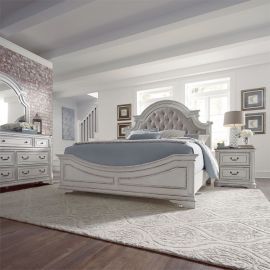 Liberty Magnolia Manor 244-BR Upholstered Bedroom Set in Antique White