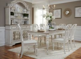 Liberty Magnolia Manor 244-T4408 Leg Dining Set with 2 Leaves in Antique White