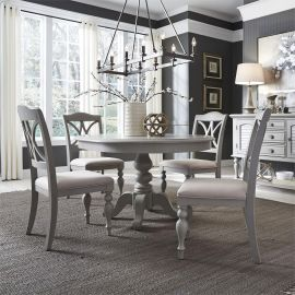 Liberty Summer House 407-CD-PDS-DS Round Pedestal Dining Set in Dove Grey
