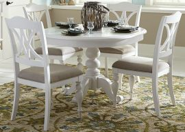 Liberty Summer House 607-CD-PDS-DS Round Pedestal Dining Set in Oyster White